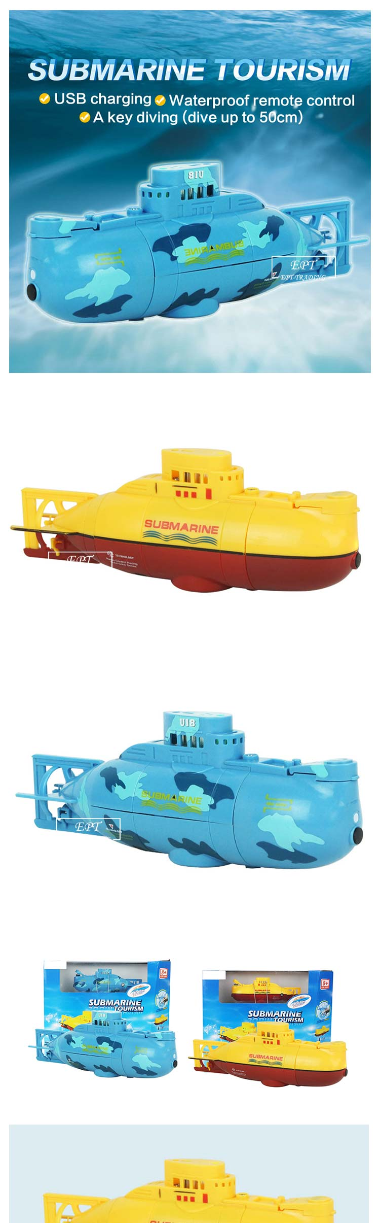 Mini rc toys boat waterproof remote control submarine