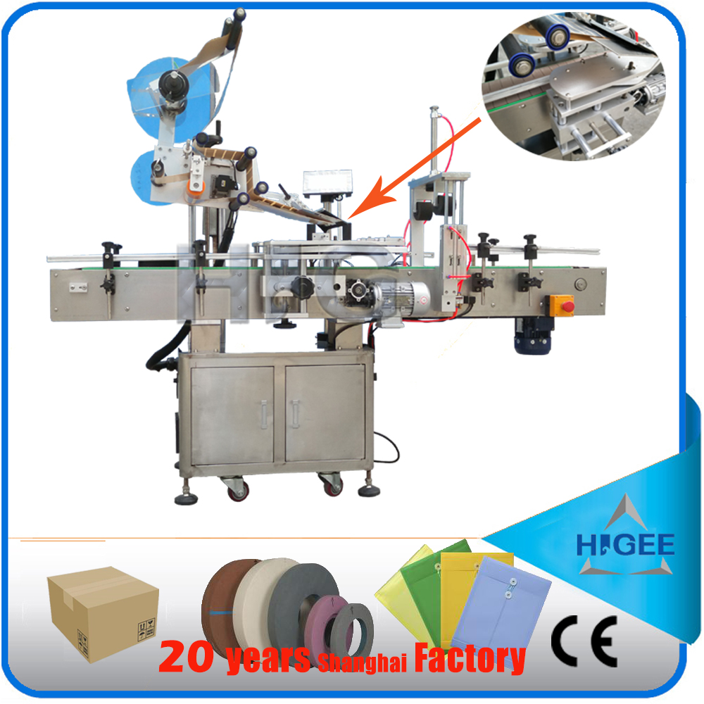 HIG Siemens PLC automatic flat surface label applicator factory with CE certificate CD labeling