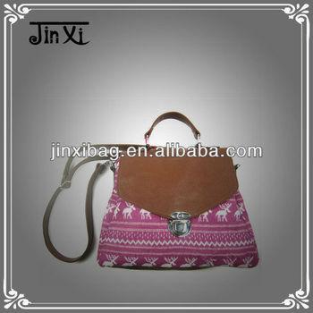 Einzigartiges Design Mode Mädchen Pu Umhängetasche Handtasche Häkeln