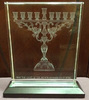 huge crystal laser art 3d etched menorah judaica israel glass sculpture