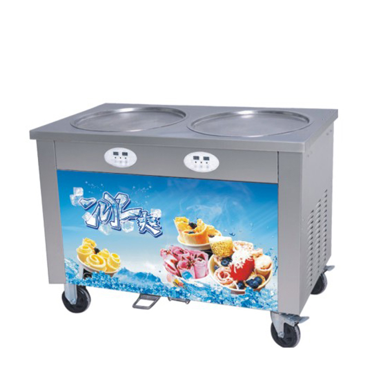 Commercial Double Pans Manual Fried Ice Cream Roll Making Machine Food Cart Philippines