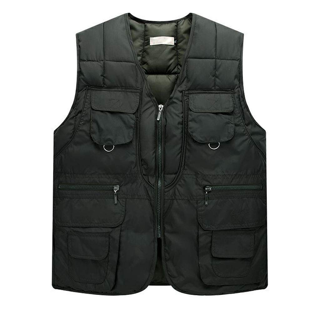 DAFREW Outdoor Multi-Pocket Vest,Thick Warm Sleeveless Jacket,Autumn and Winter Down Cotton Vest,Fishing Photography (Color : Green, Size : M)