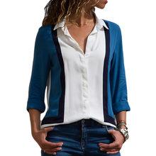 Женская блузка, Повседневная рубашка с длинным рукавом, в полоску, на пуговицах, с отложным воротником, женские Рубашки, Топы, блузки для отд...(China)