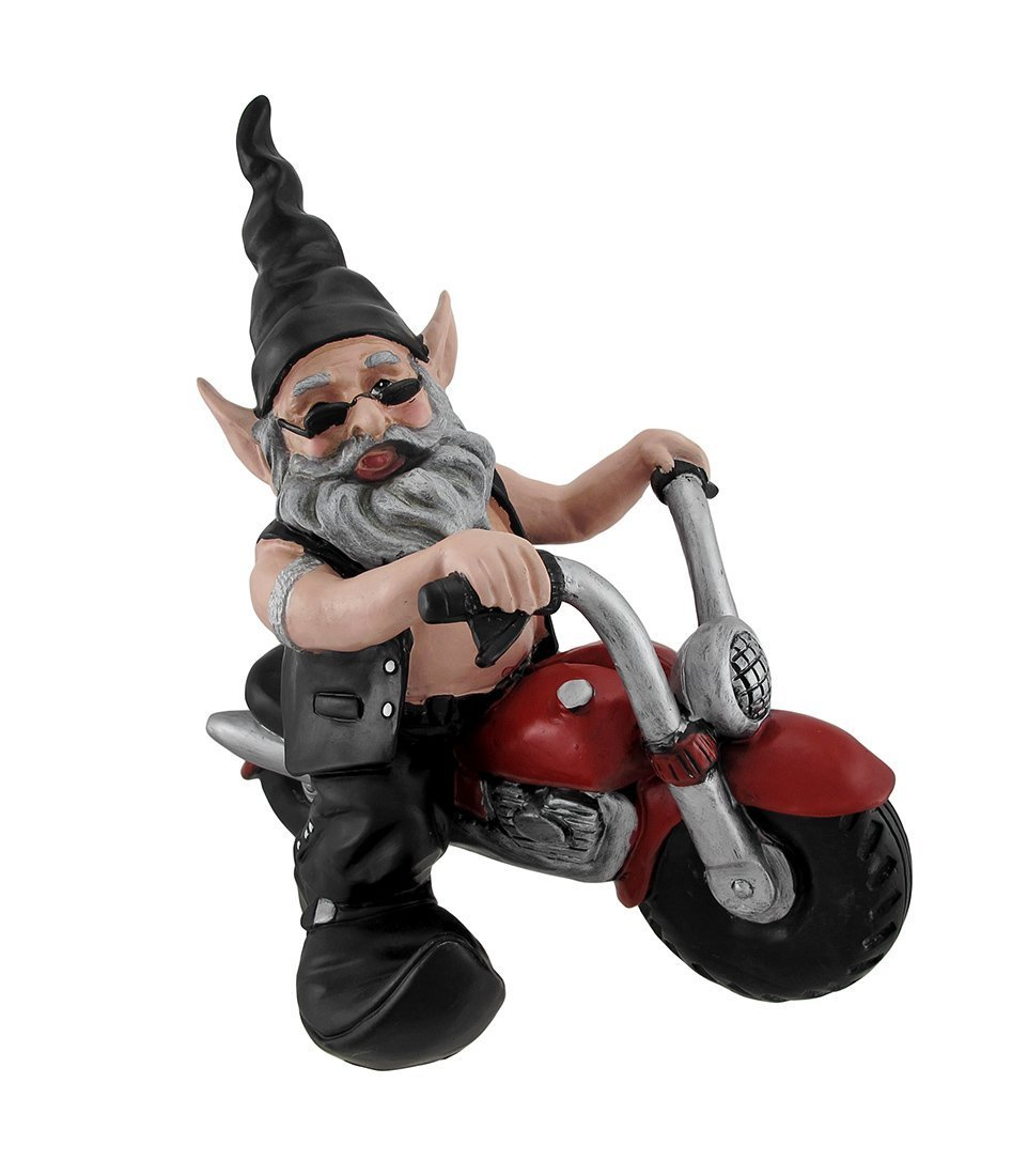 """Nowaday Gnomes - """"Biker Dude"""" the Biker Gnome in Leather Motorcycle Gear Riding His Red Bike Home & Garden Gnome Statue 12""""H"""