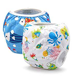 DSB Baby 2pcs Swim Diapers Adjustable Swim Baby Nappies (SW08D02) by dsb