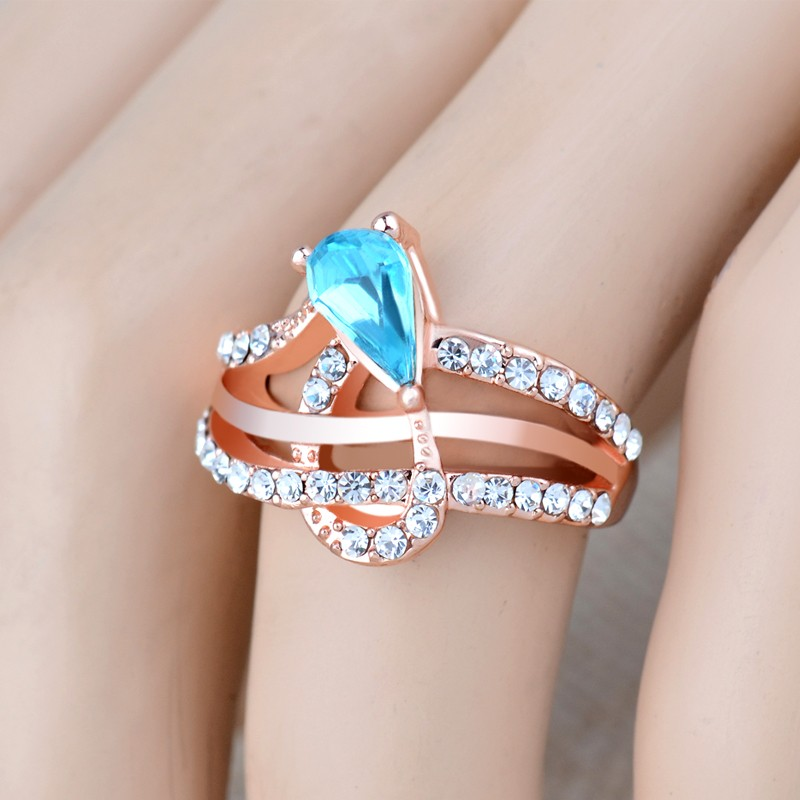 Elegant Zircon Rings High Finished End Rose Gold Plating Rings ...
