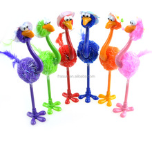 Novelty cheap plastic desk stand pen, fluffy feather ostrich bird shape ball pens