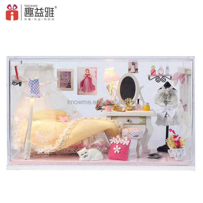 Handmade product lovely DIY wooden doll house miniature furniture for kids' birthday gift