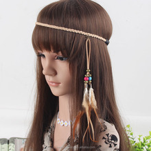 Khaki Women Indian Peacock Feather Tassels Weave Headdress Hippie Elastic Dangle Headband