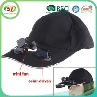 Custom hot sale cap with fan solar power fan cap battery powered fan cap