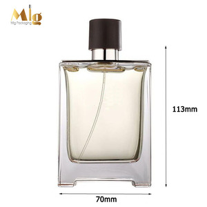 Glass squared empty cosmetic perfume spray bottle 100ml