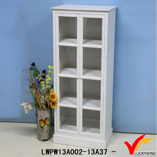 white tall vintage wood cabinets with glass doors