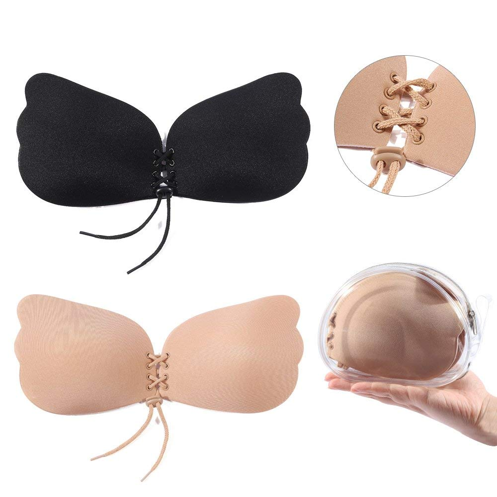 b9803dd39c855 Get Quotations · SUNNYBUY Women s Silicone Invisible Strapless Bra Push up  Reusable Adhesive Sticky Bras for Party Wedding Dress