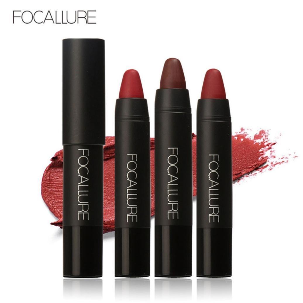 New Lipstick! Elevin(TM) 3PCS Fashion Women Ladies FOCALLURE Waterproof Long-lasting Red Velvet Matte Color Pencil Lipstick Crayon Makeup Set (A)