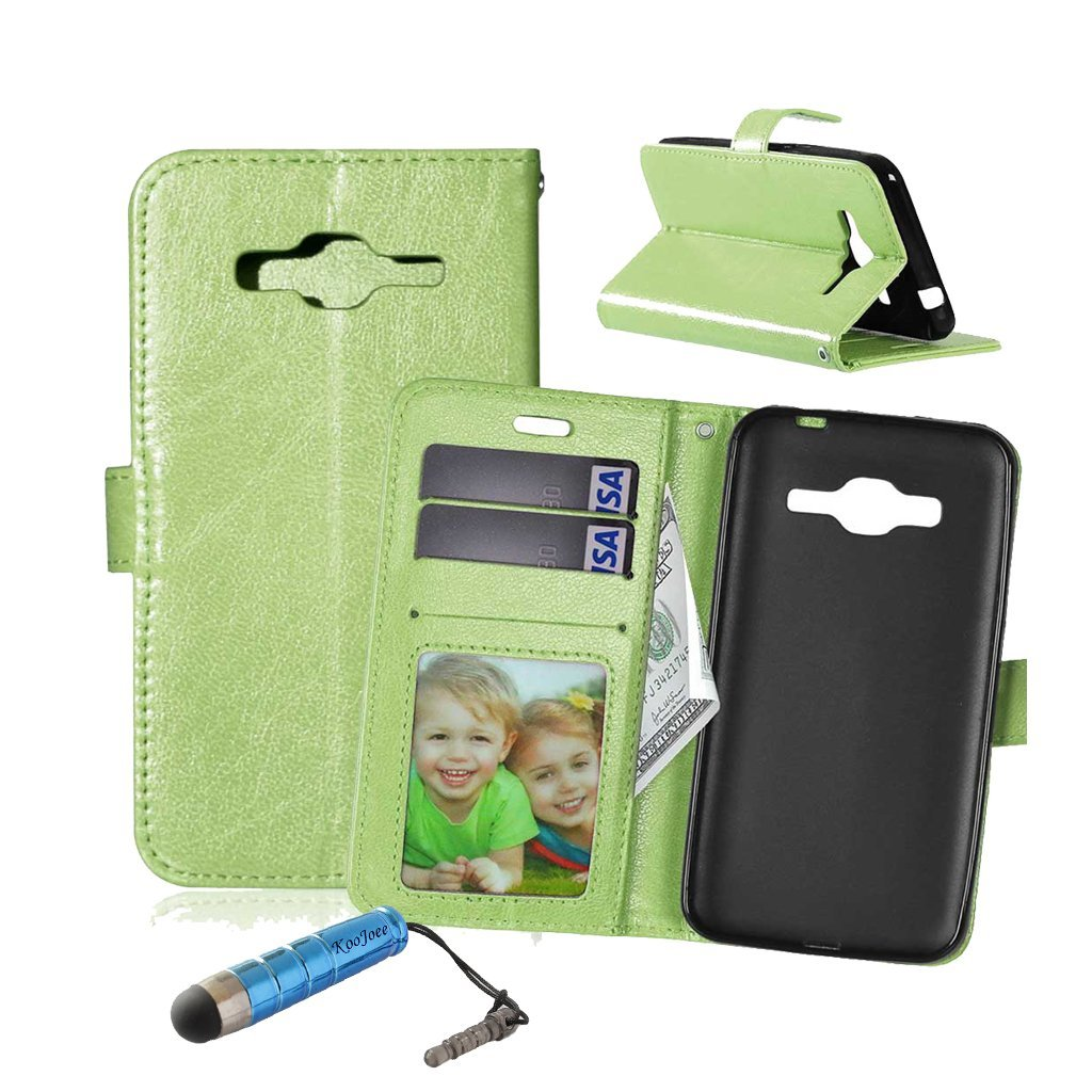 Galaxy J3 (2016) Leather Case, J320 Flip Case, KooJoee® Premium Leather Pure Color [Executive Style] [Kickstand Feature] Protective Wallet Case Card Holders for Samsung Galaxy J3 (2016) (Green)