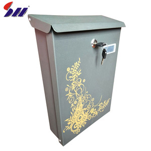 Cold-rolling sheet wall mounted outdoor lockable steel mailbox for buildings