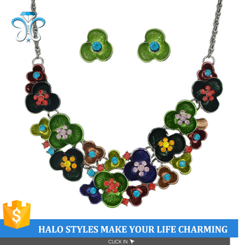 NE53-004 fashion jewelry set brightful enamel flower cluster necklace