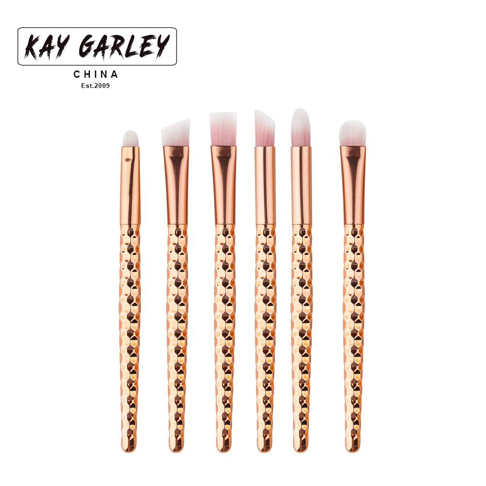 6pcs Eyes Makeup Brushes Set Rose gold handle Cosmetic Eyshadow contour shadow highlight Powder Blending Brush beauty tools kits