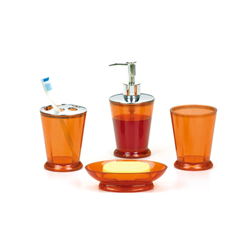 Charmant Plastic Bath Set 4 PCS Orange Bathroom Accessories