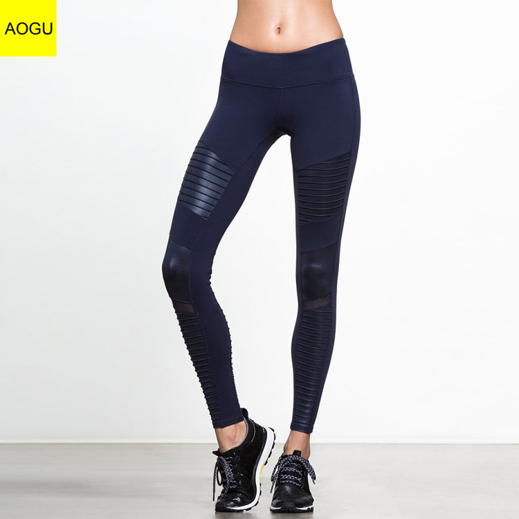 Wholesale custom high quality logo women mesh fitness leggings active wear women yoga fitness leggings