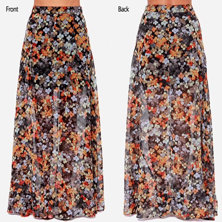 2015 New Fashion Design Women Floral Printed Maxi Skirt,Latest ...