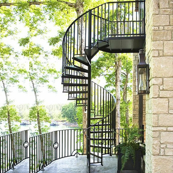Outdoor Decorative Used Morden Cheap Wrought Iron Low Cost Spiral Staircase  Design