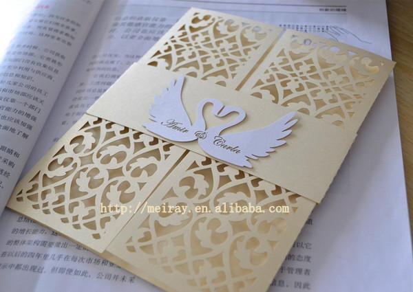wedding cards golden laser cut wedding invitations invitation