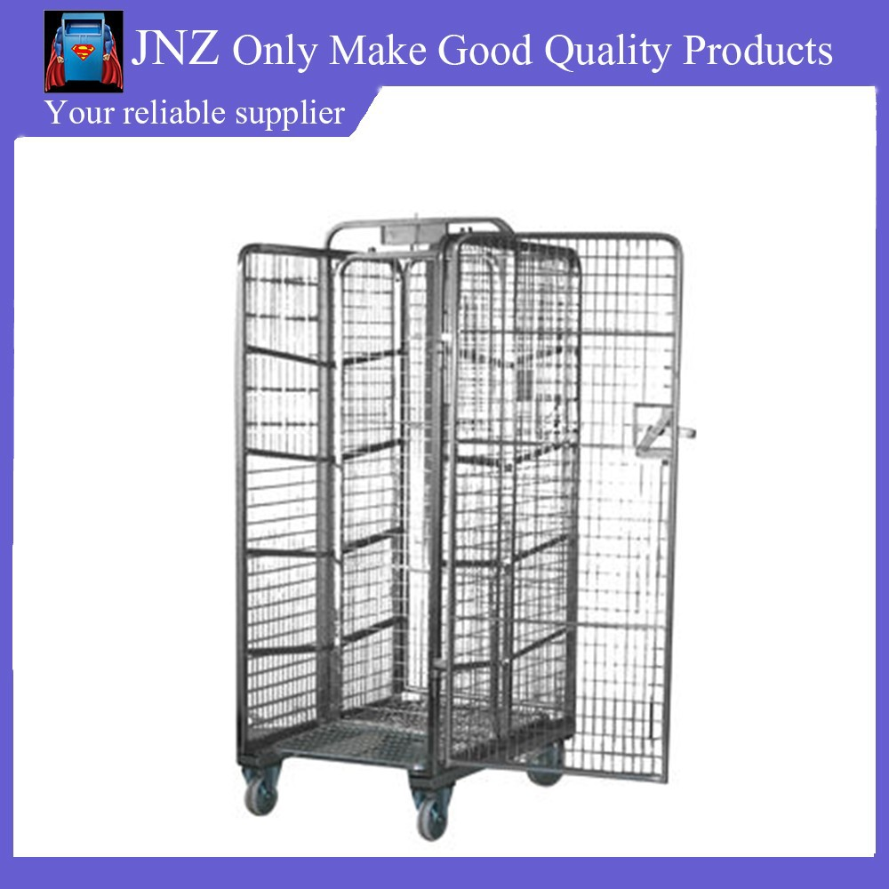 metal rolling folding wire display cart