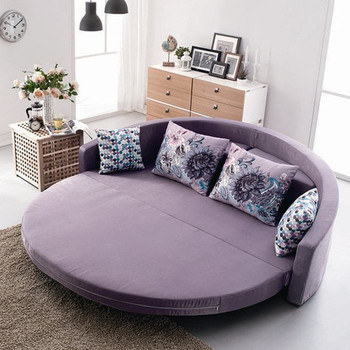 Comfortable Round Sofa Bed With Colorful Cushion Bright Color For Living Room Furniture