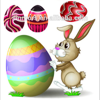 New Easter festival egg cartoon shaped decorated glass window easter rabbit easter egg sticker for kids with high quality