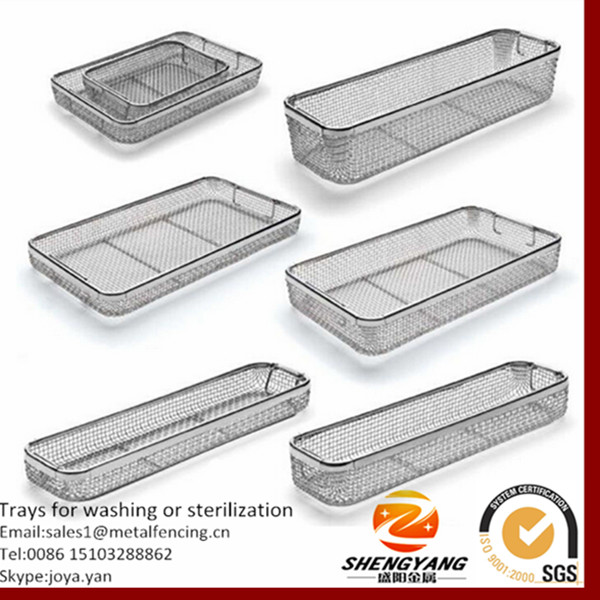 New design medical grade trays hospital used cleaning trays with drop handles wire mesh trays for washing or sterilization