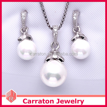f716e1016ba0d Cute 925 Sterling Silver Small Size Round Pearl Jewelry Necklace Set - Buy  Silver Round Pearl Necklace Set,Small Size Round Pearl Set,Sterling Silver  ...