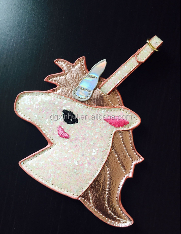 Super Shiny Cute Unicorn Luggage Tag with Passport Holders credentials Cover