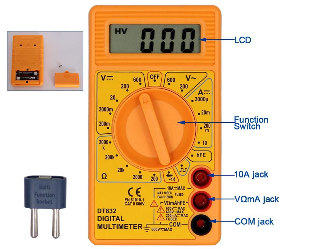 dt-830d digital multimeter with safety design