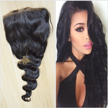 Loose wave hair hot selling style on Alibaba bleach knot Indian stock human hair silk base closure wholesale