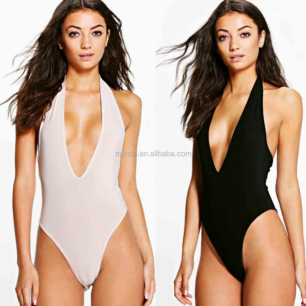 Mature One Piece Swimsuit Jumpsuit Women Extreme High Leg Plunge Sexy one piece thong swimsuit