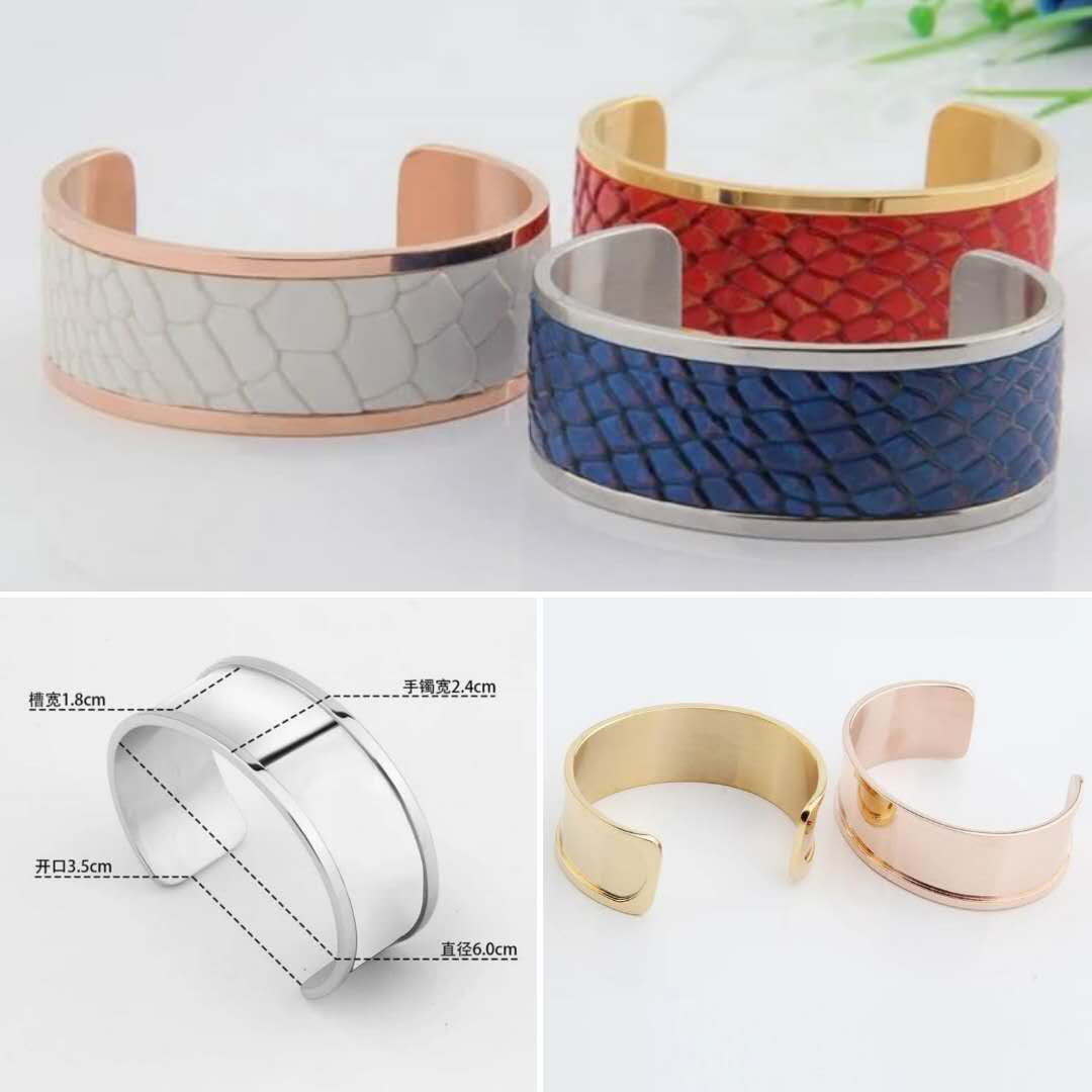 Jranter Titanium Bracelets With Genuine Python/Croc/Stingray/Ostrich Leather