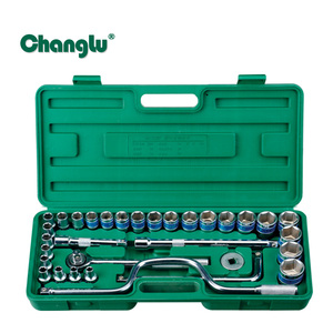32 pieces 1/2 inch drive socket wrench set 6 point with blue-rim, tyre repairing spanners kit