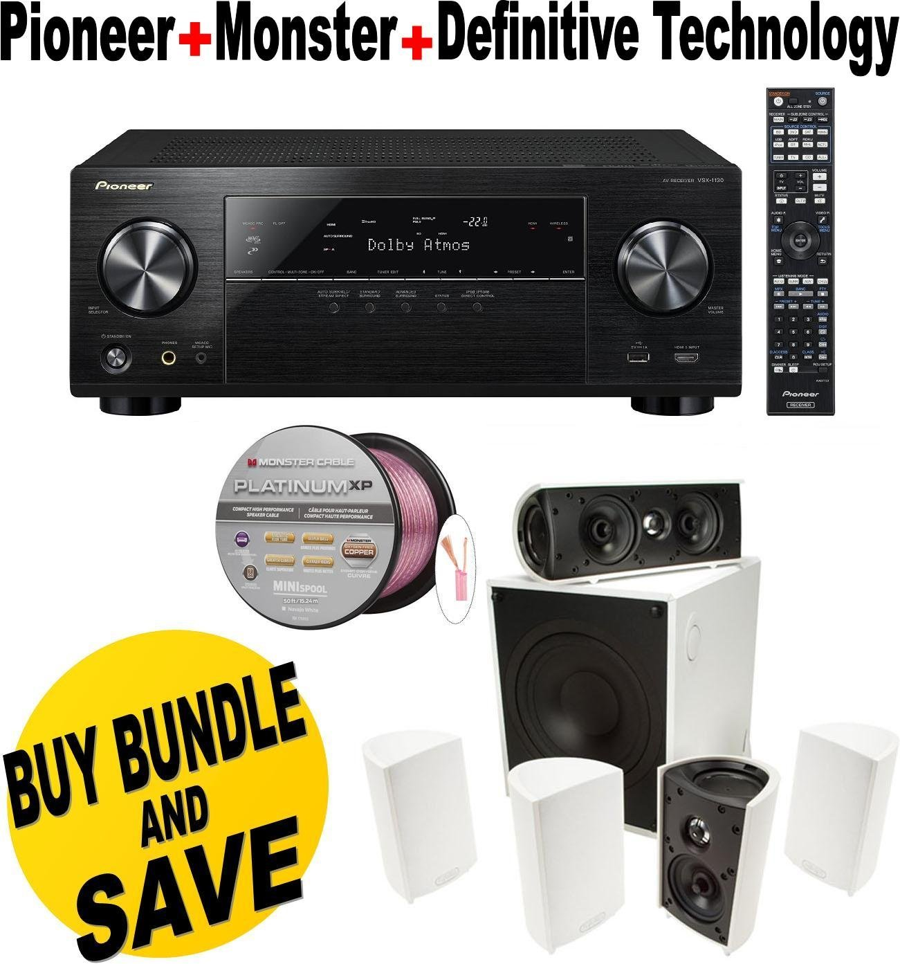 Pioneer VSX-1130-K 7.2-Channel AV Receiver with Built-In Bluetooth and Wi-Fi (Black) + Definitive Technology - Definitive Technology ProCinema 600 5.1 Speaker System (Set of Six, White) Bundle