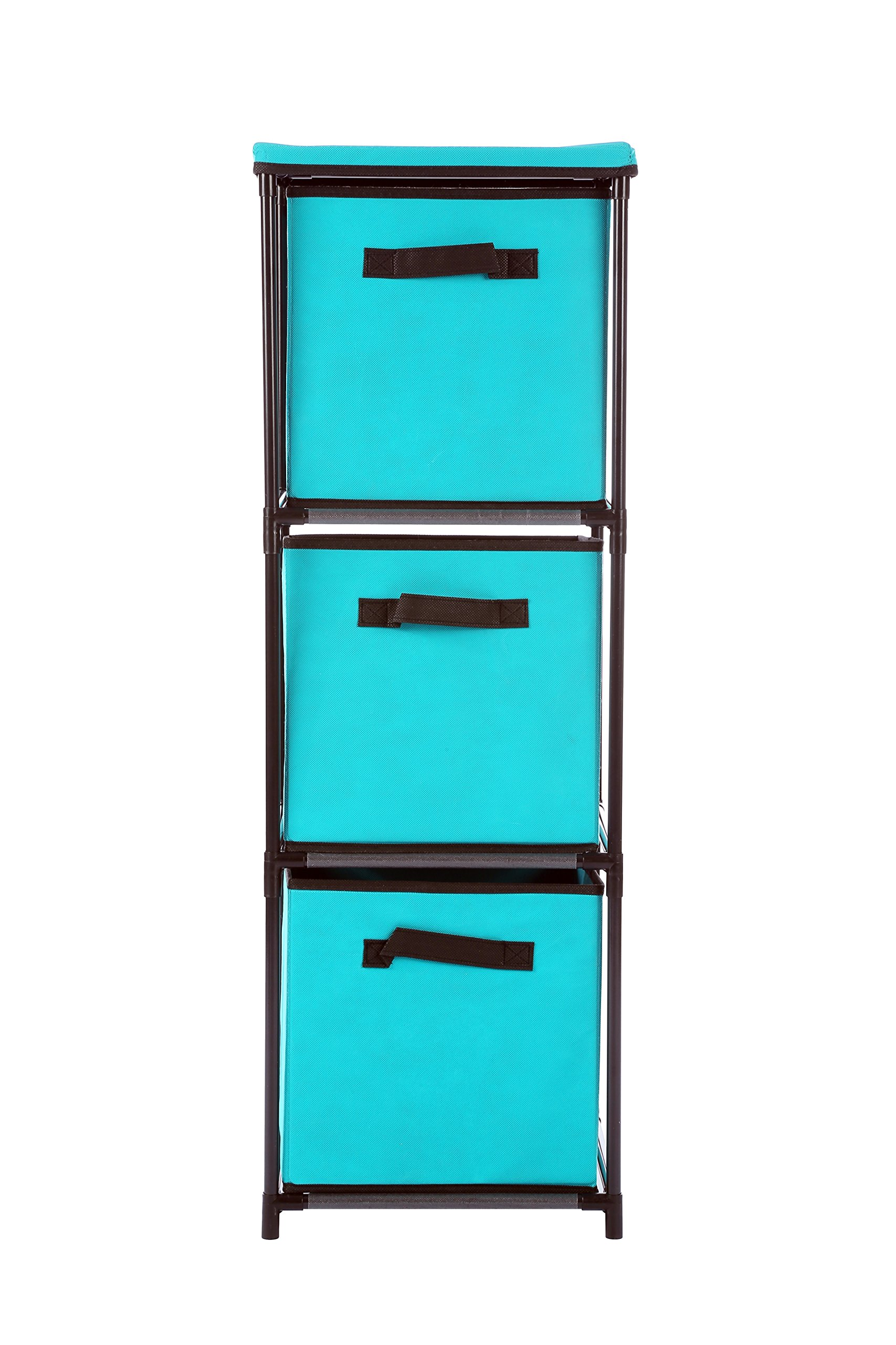 Home-Like 3-Drawer Chest Multi-Bin Toy Organizer Nursery Storage Tower Multi-Purpose Cabinet 3 Tier Metal Shelf with 3 Fabric Collapsible Bins Suit for Closet Bedroom Entryway(3 Drawer-Turquoise)