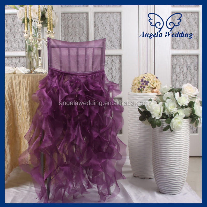 ch005b wholesale fancy hot sale frilly curly willow pink ruffled wedding chair covers