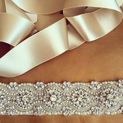 "ShinyBeauty 30%, Crystal Rhinestone & Pearl Bridal Sash, Wedding Belt, Ivory Crystal Bridal Sash, 17"" Rhinestones"