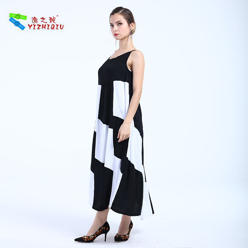 YIZHIQIU Fashion Plaid Pattern Spaghetti Strap Dress