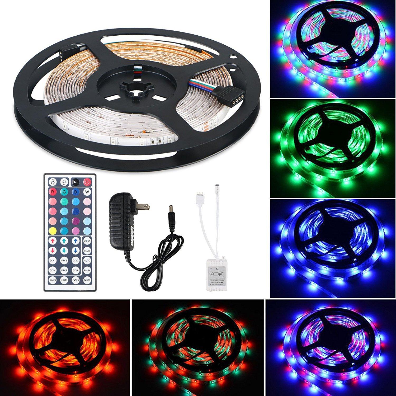 Flexible LED Strip Light Kit LinkStyle 16.4Ft LED Rope Lights 300 LED Tape Light, Color Changing RGB LED Strip Lights & 44Key Remote Controller and 12V Power Supply for DIY Bedroom Home Bar Party