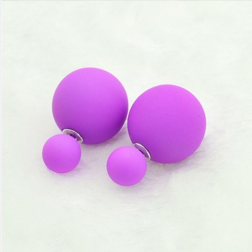 1 Pair Of 8 Candy Colors Women Girls Matte Double Pearl Bead Plug Earrings Ear Studs Pin HOT Jewelry For Women Gift