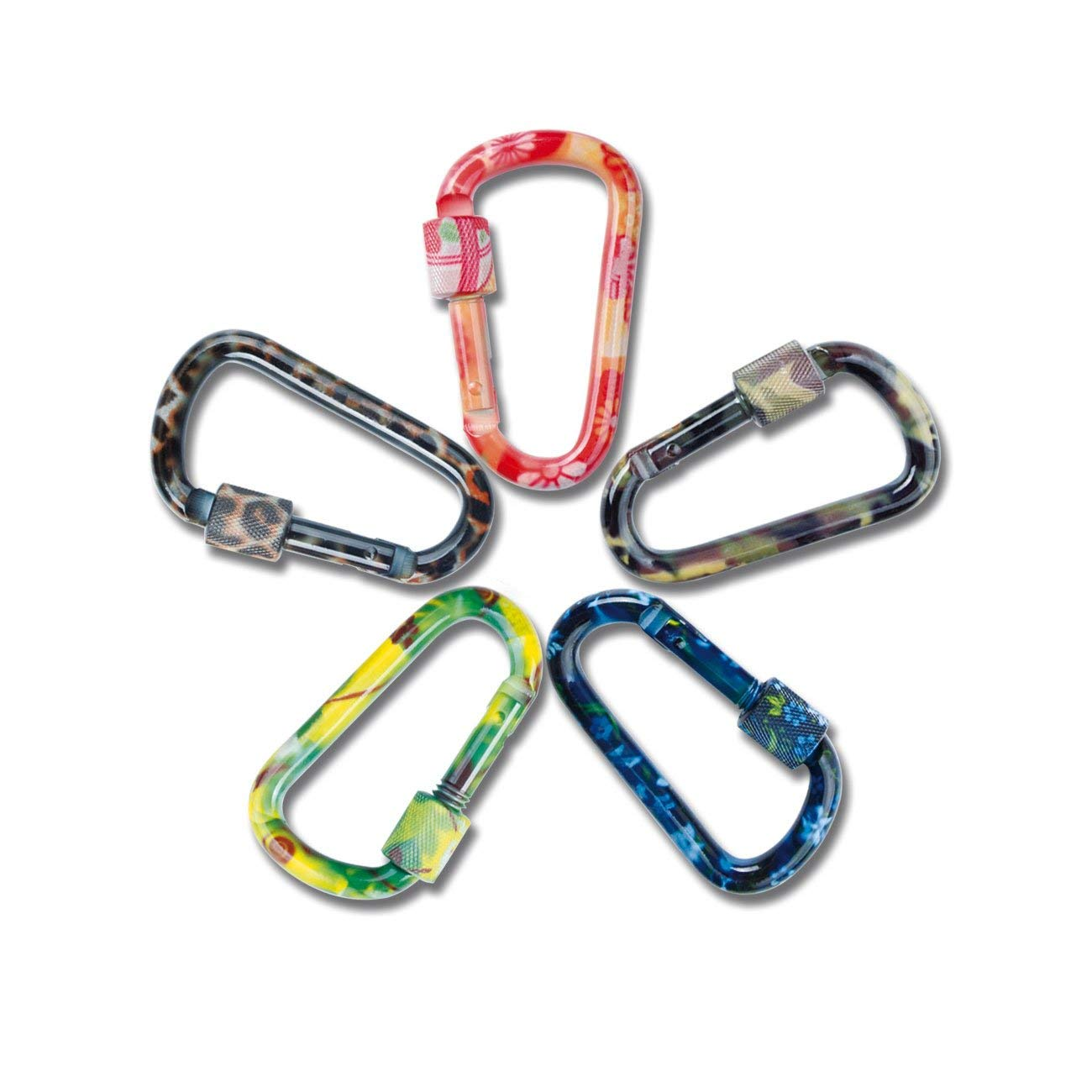 Gear Aluminum Alloy D Shape Buckle Pack,Keychain Clip, Backpack Carabiner,Spring Snap Keychain Clip Hook Screw Gate Buckle Ideal for Camping, Hiking, Fishing