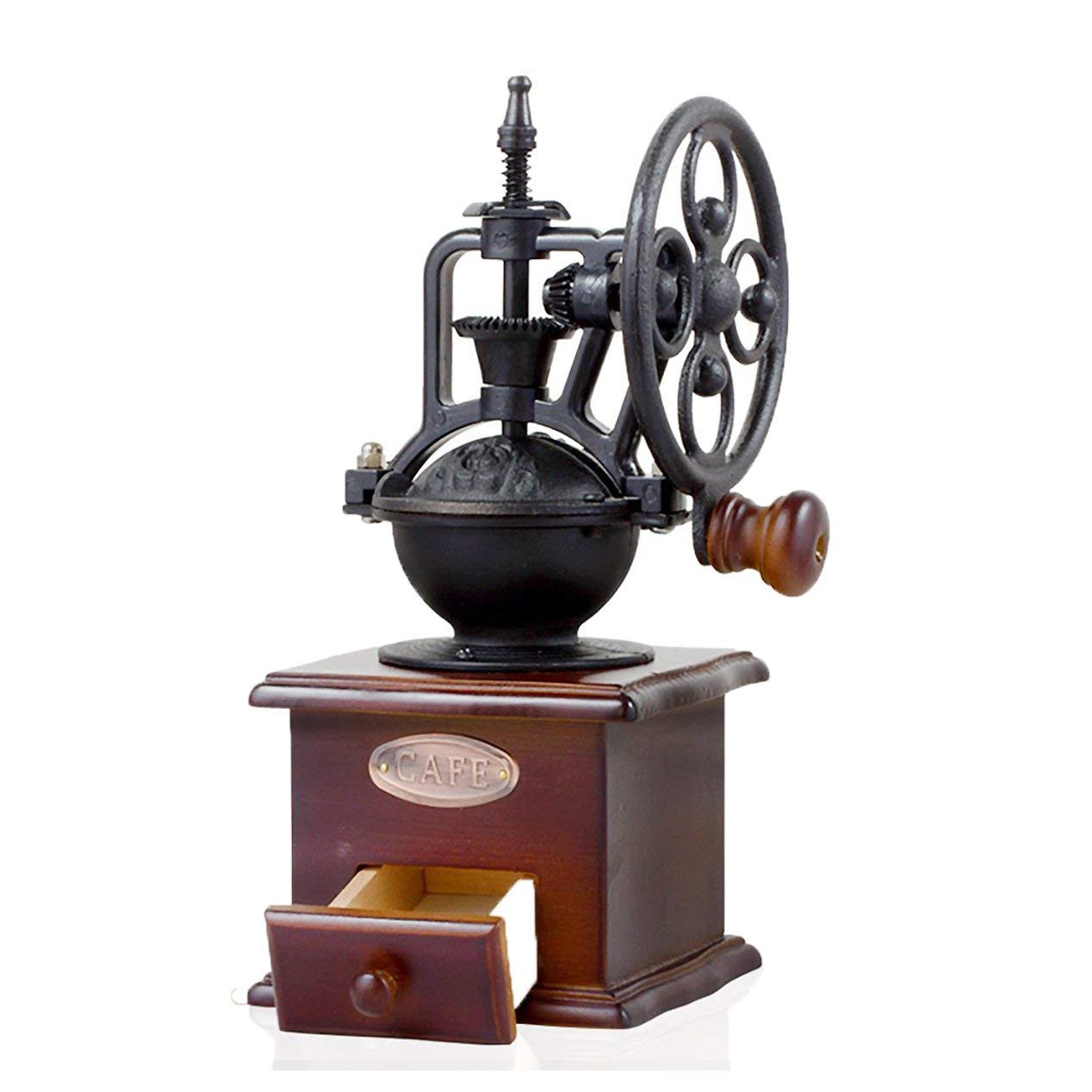 Meccion Manual Coffee Grinder, Wooden Classic Vintage Style Antique Cast Iron Hand Crank Coffee Beans Mill With Ceramic Iron Burr Core, Grind Settings and Catch Drawer