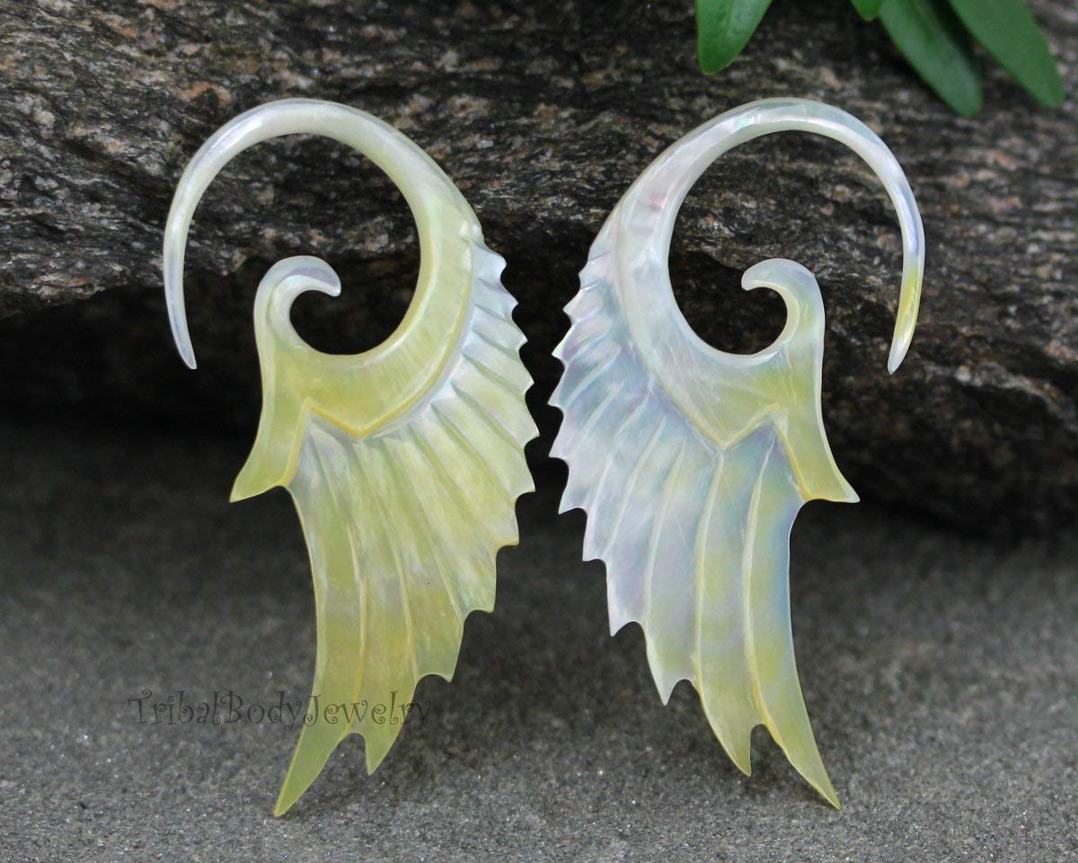 10G / 10 2.4mm Gauge Mother of Pearl Hand Carved Beautiful Tribal Earrings for Him or Her - Angel Wings, Seraph