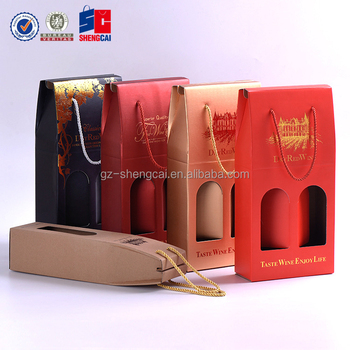 Custom corrugated Paper 2 Bottle Wine packaging Box, Wine Carry gift Bag