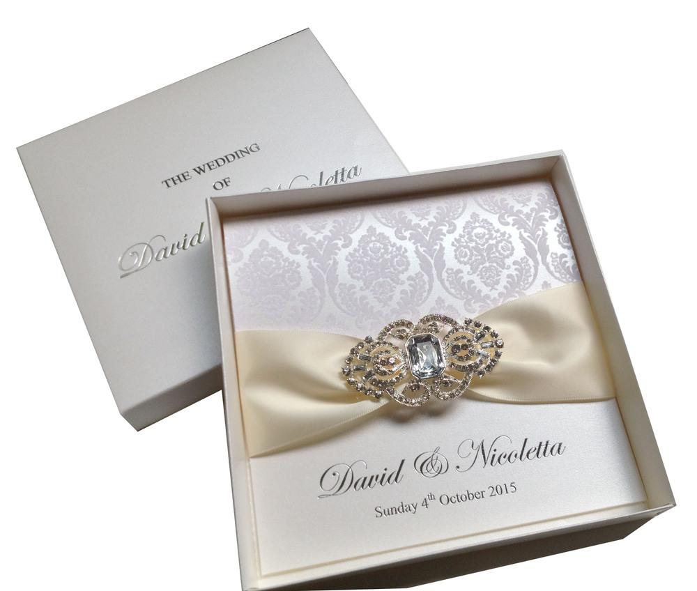 Boxed White Flocked Wedding Invitations -----pa005 - Buy Boxed ...